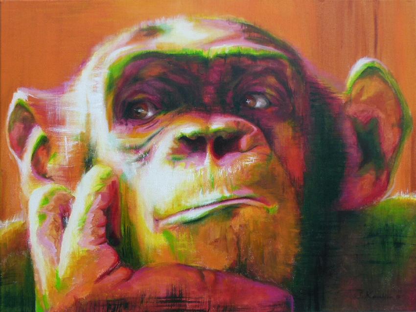 Affe Krafttier Bedeutung Malerei Sabine Koschier Kunst