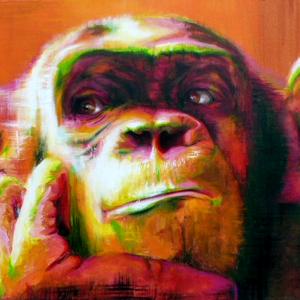 Krafttier Affe Malerei der Künstlerin Sabine Koschier