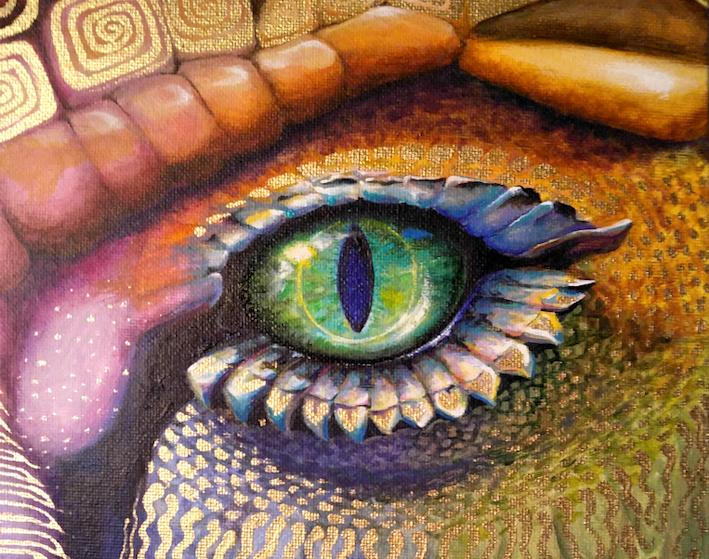 Auge Drache Drachenauge Krafttier Malerei Kunst