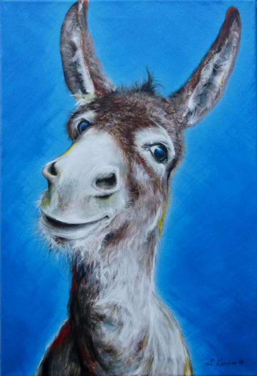 Krafttier Esel Malerei der Künstlerin Sabine Koschier