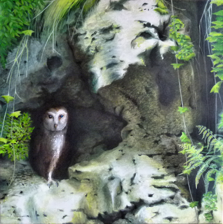 Felseneule, Schleiereule, Krafttier Eule, gemalt von Künstlerin Sabine Koschier