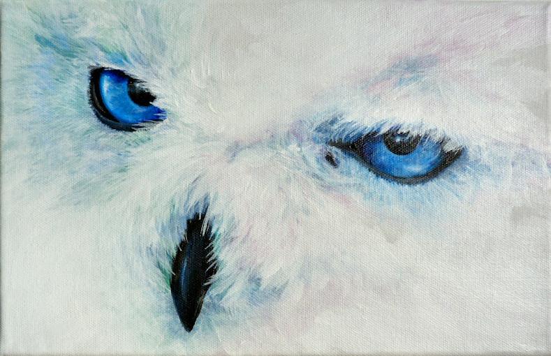 Schneeeule, Krafttier Eule, gemalt von Künstlerin Sabine Koschier
