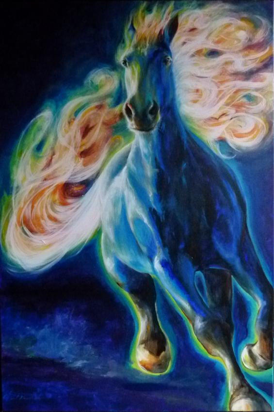 Pferd Feuerpferd Krafttier Malerei der Künstlerin Sabine Koschier
