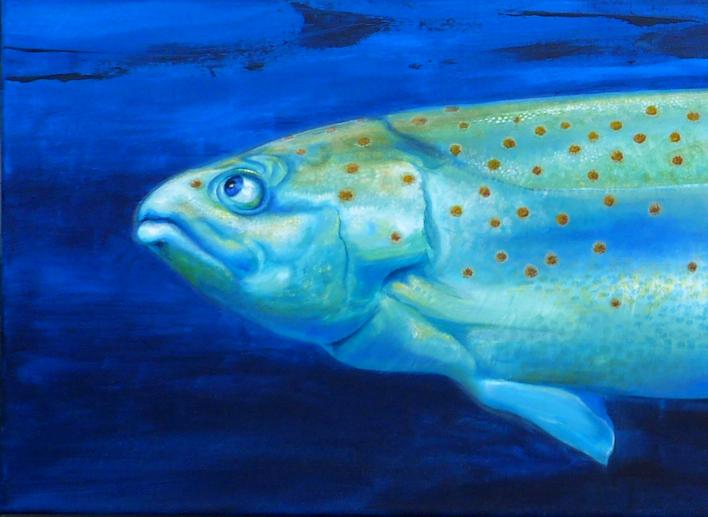 Fisch / Forelle als Krafttier, Malerei der Künstlerin Sabine Koschier