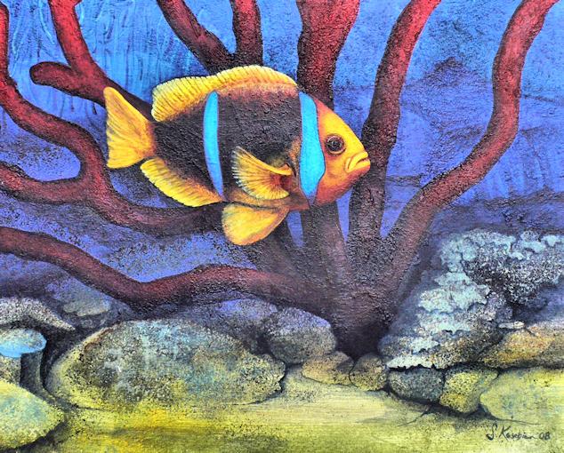 Fisch als Krafttier, Wandmalerei der Künstlerin Sabine Koschier