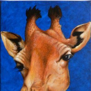 Giraffe Krafttier Bedeutung Malerei von Sabine Koschier.
