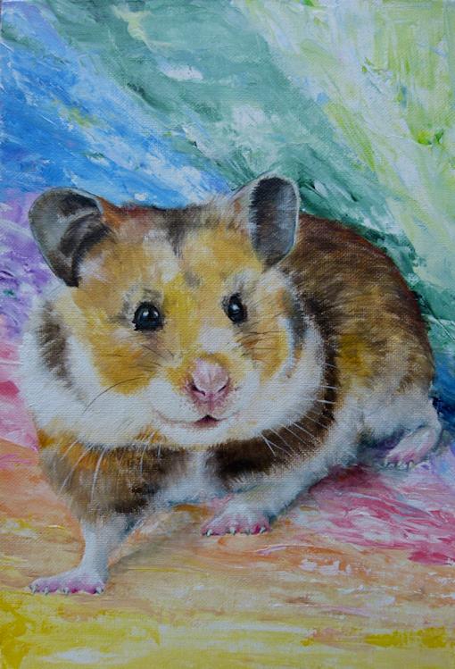 Goldhamster Hamster Krafttier Bedeutung Malerei der Künstlerin Sabine Koschier