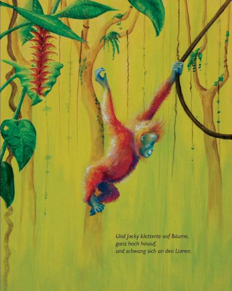 Seite 26 Kunst-Bilderbuch JACKY - ein Orang-Utan sucht den Dschungel von Sabine Koschier