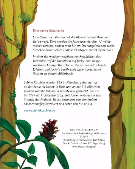Seite 38 Kunst-Bilderbuch JACKY - ein Orang-Utan sucht den Dschungel von Sabine Koschier