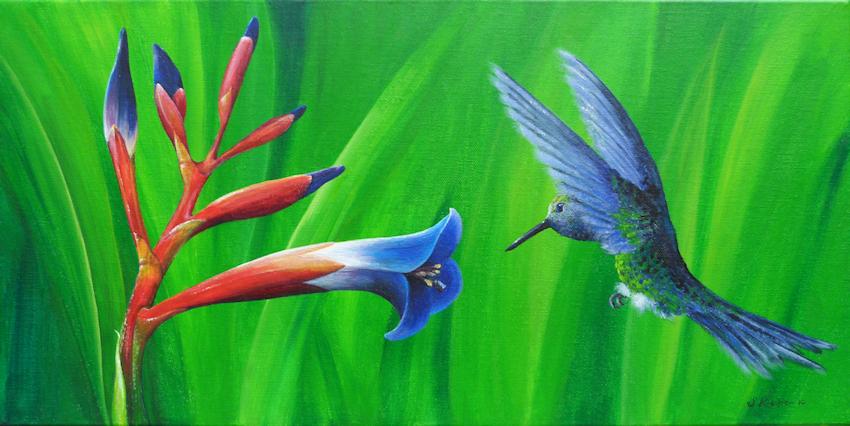 Krafttier Kolibri, Malerei der Künstlerin Sabine Koschier