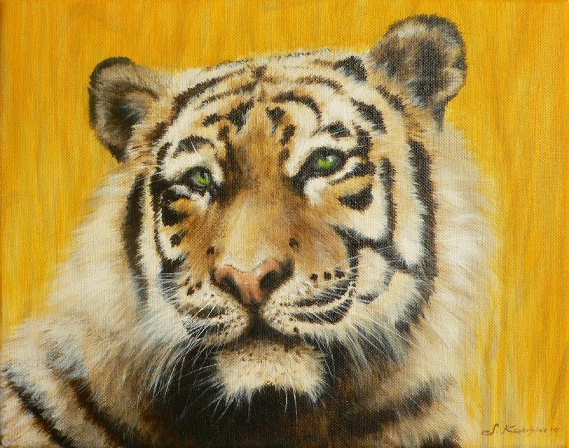 Krafttier Tiger Malerei Sabine Koschier