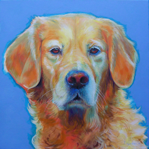 Krafttier Hund Golden Retriever gemalt von der Künstlerin Sabine Koschier