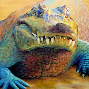 Krafttier Krokodil oder Aligator, gemalt von der Künstlerin Sabine Koschier