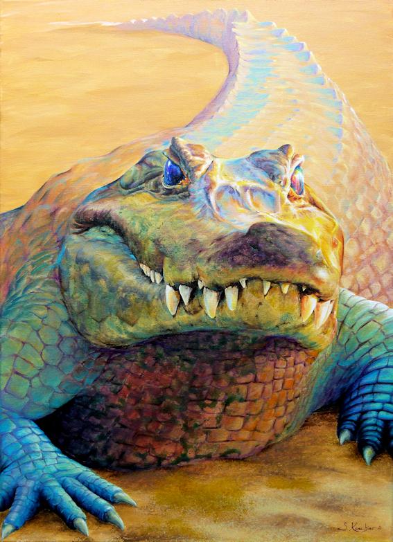 Krokodil als Krafttier, Malerei der Künstlerin Sabine Koschier