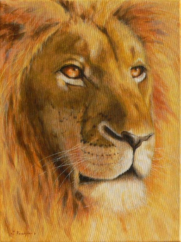Krafttier Löwe Malerei der Künstlerin Sabine Koschier