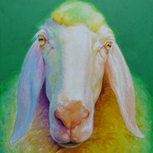 Krafttier Schaf gemalt Malerei der Künstlerin Sabine Koschier