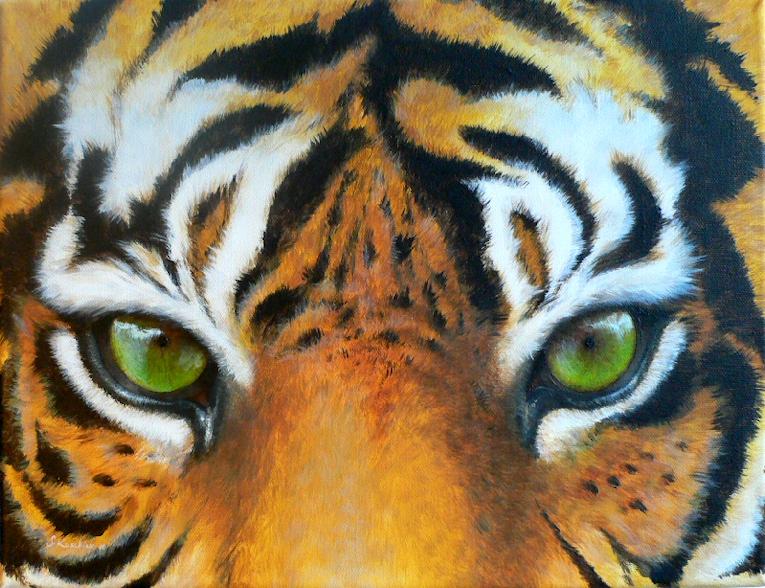 Krafttier Tiger Augen Malerei Sabine Koschier