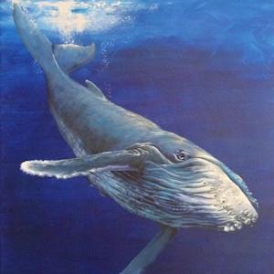 Krafttier Wal oder Buckelwal Malerei gemalt von der Künstlerin und Schamanin Sabine Koschier