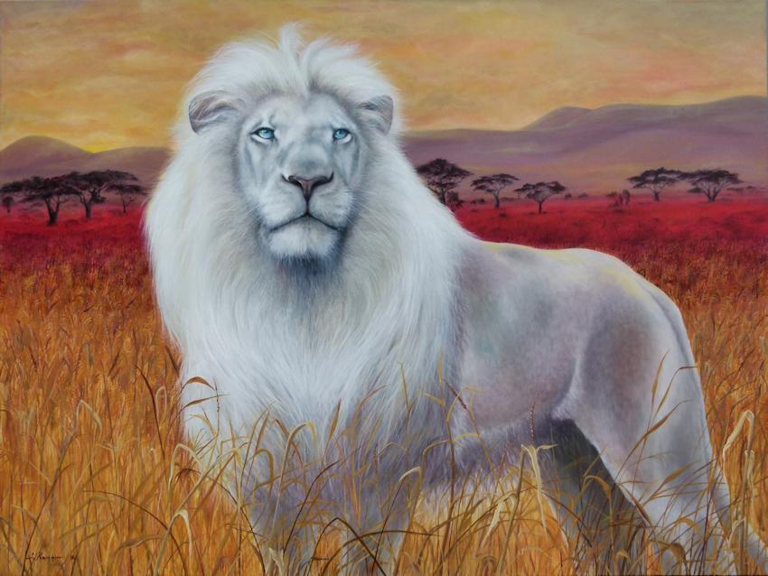 Krafttier Weißer Löwe Malerei der Künstlerin Sabine Koschier