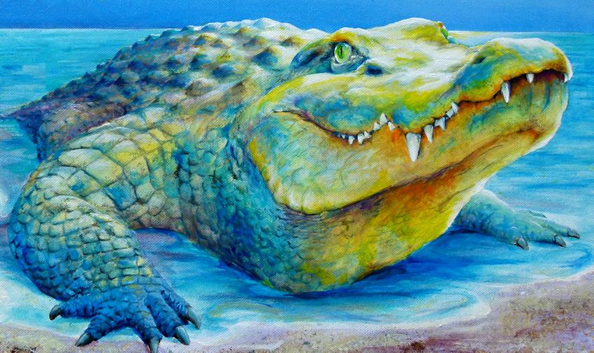 Krokodil oder Aligator als Krafttier, Malerei der Künstlerin Sabine Koschier