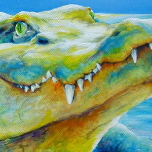 Krokodil Krafttier Bedeutung Malerei Kunst