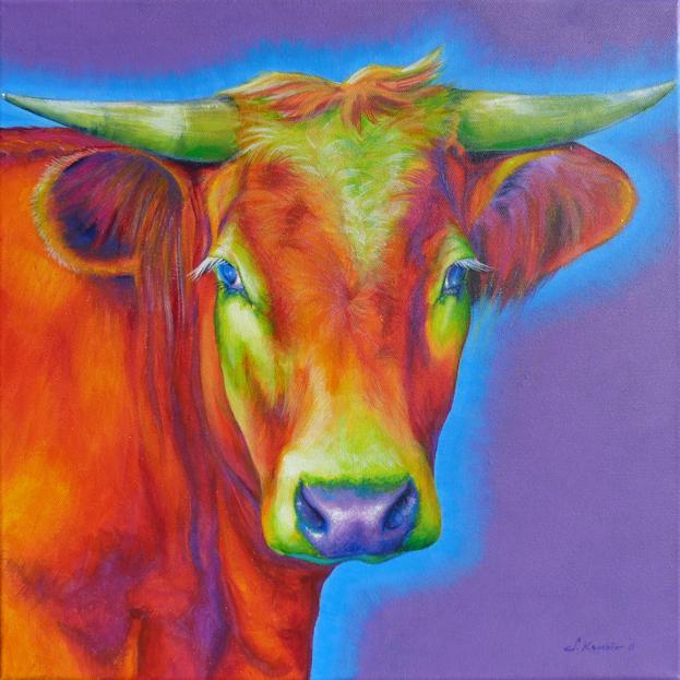 Kuh Krafttier Malerei der Künstlerin Sabine Koschier