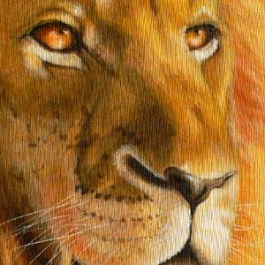 Löwe Krafttier Bedeutung gemalt Kunst