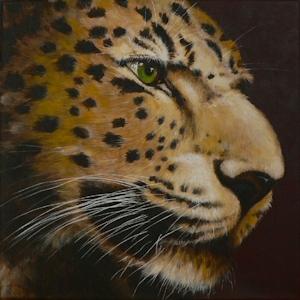 Leopard Krafttier Bedeutung gemalt Kunst