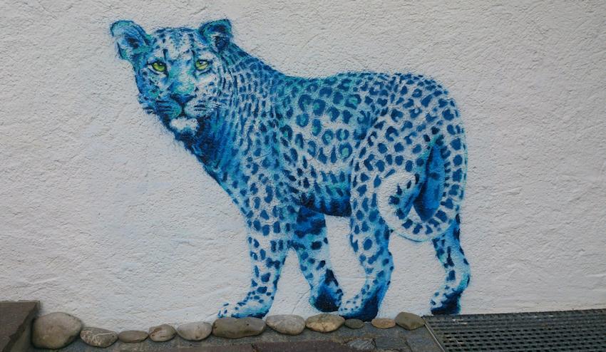 Leopard Krafttier Wandmalerei von Sabine Koschier