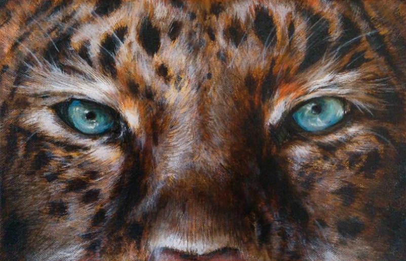 Krafttier Leopard Augen Malerei der Künstlerin Sabine Koschier