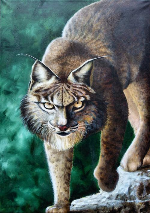 Luchs Krafttier Malerei der Künstlerin Sabine Koschier
