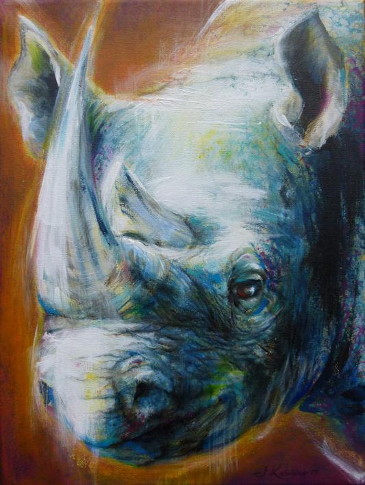 Krafttier Nashorn Malerei der Künstlerin Sabine Koschier