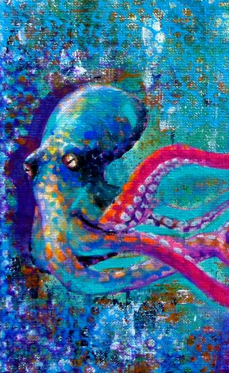 Octopus Krake Tintenfisch Krafttier Malerei
