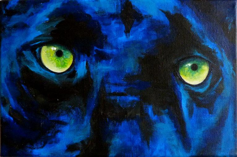 Panther Augen Krafttier Malerei der Künstlerin Sabine Koschier