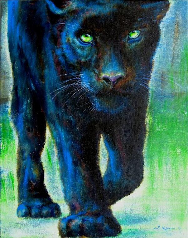 Panther Krafttier Malerei der Künstlerin Sabine Koschier