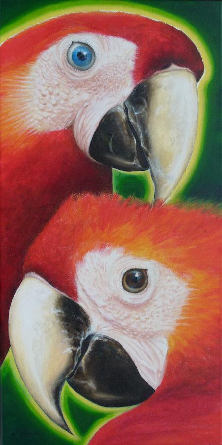 Papagei Ara als Krafttier Malerei der Künstlerin Sabine Koschier