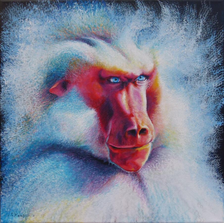 Krafttier Affe Pavian Malerei der Künstlerin Sabine Koschier