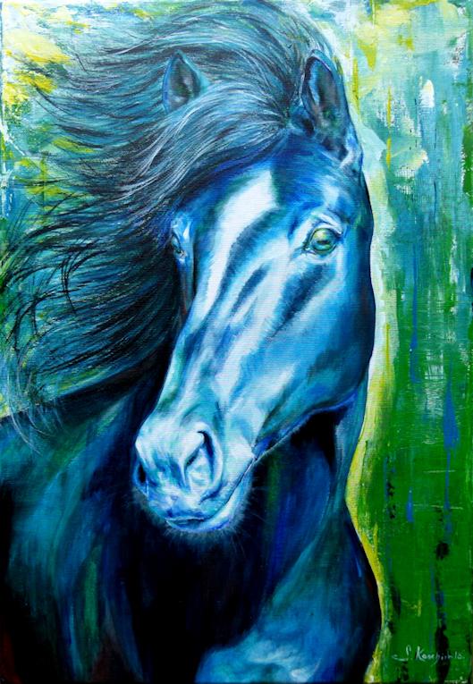 Pferd Araber Krafttier Malerei der Künstlerin Sabine Koschier