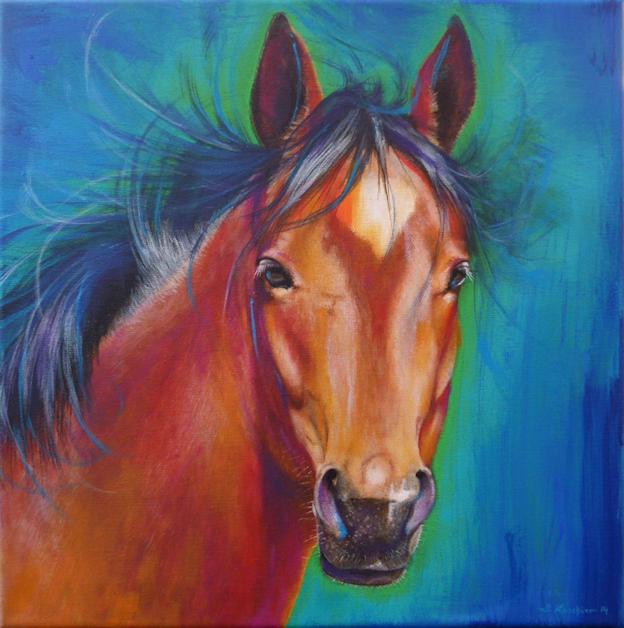 Pferd Brauner Krafttier Malerei der Künstlerin Sabine Koschier