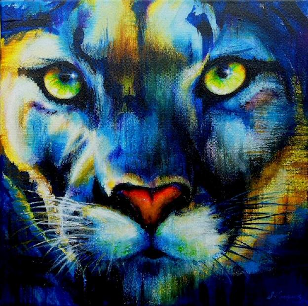 Krafttier Puma Malerei der Künstlerin Sabine Koschier