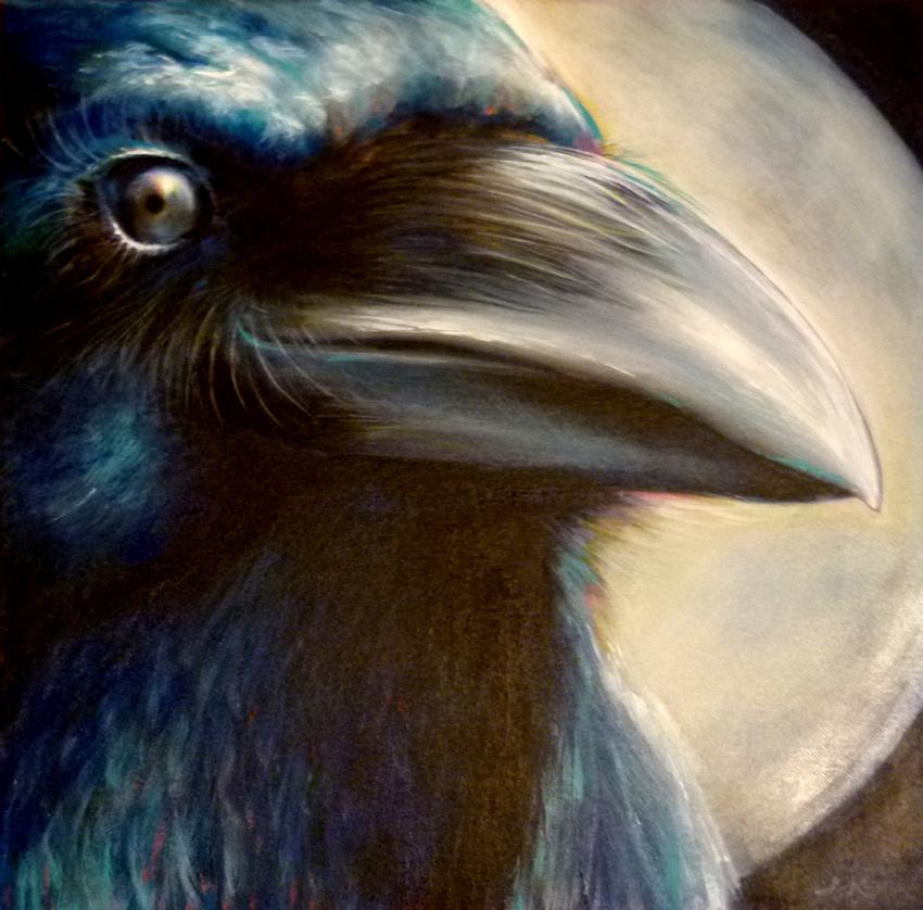 Der Rabe mit Mond als Krafttier, Malerei der Künstlerin Sabine Koschier