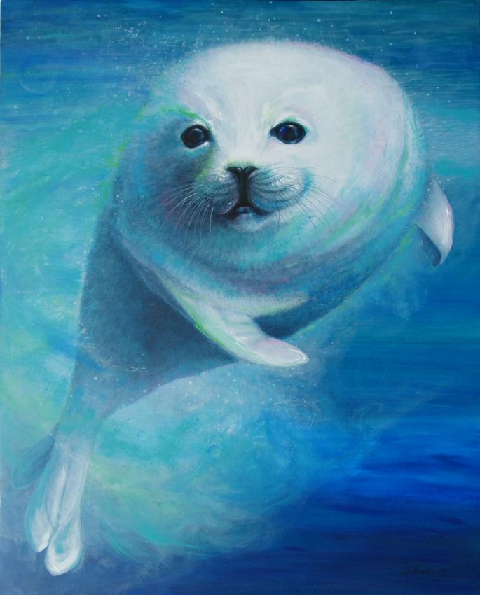 Seehund oder Robbe als Krafttier, Malerei der Künstlerin Sabine Koschier