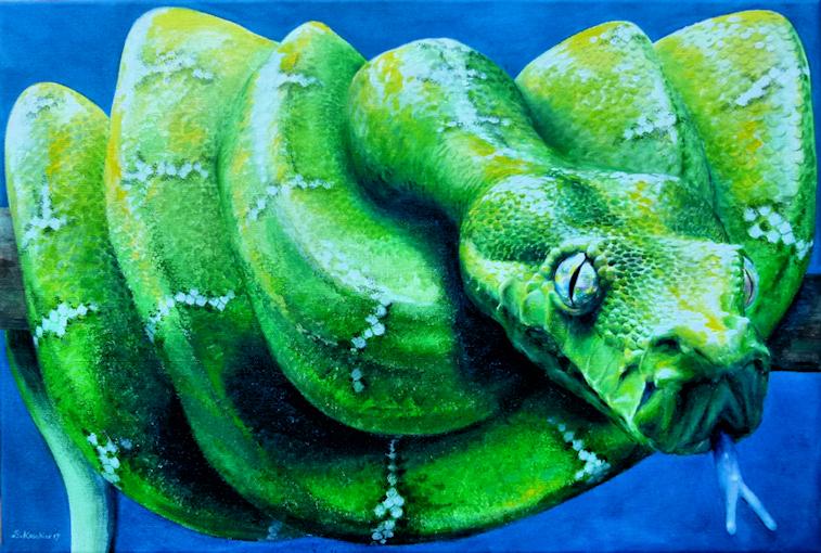 Schlange Python Krafttier Malerei der Künstlerin Sabine Koschier