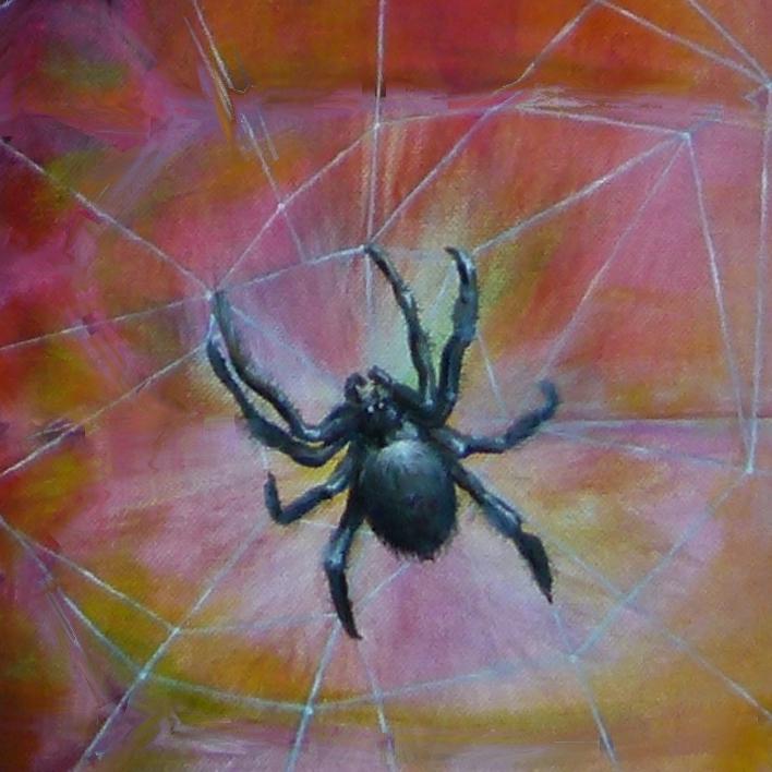Spinne Krafttier Malerei der Künstlerin Sabine Koschier