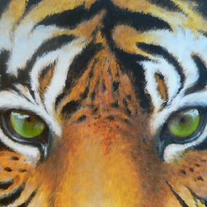Tiger Krafttier Bedeutung gemalt von der Künstlerin Sabine Koschier