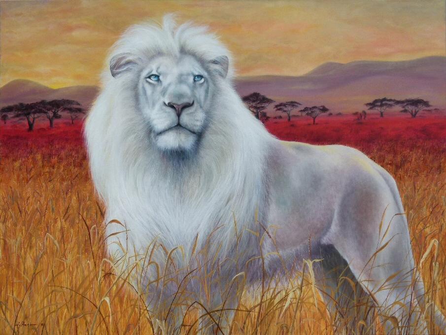 Dein Krafttier weißer Löwe Malerei der Künstlerin und Schamanin Sabine Koschier Kunst