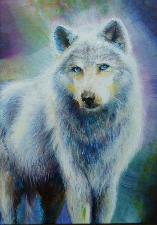 Krafttier Wolf mit Aura, Malerei der Künstlerin Sabine Koschier