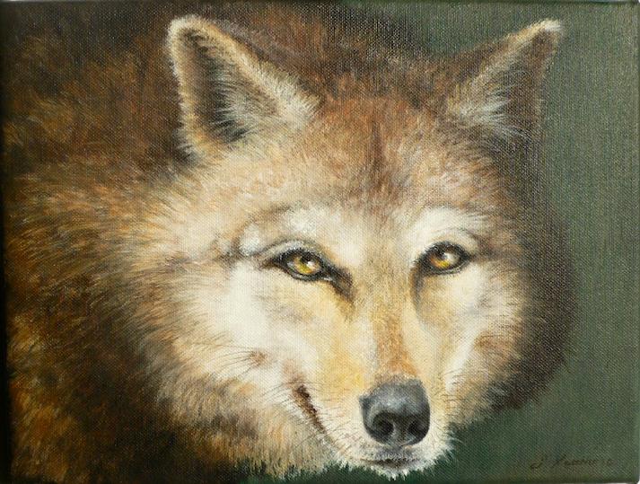 Krafttier Wolf, Malerei der Künstlerin Sabine Koschier