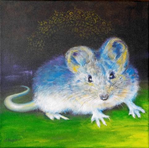 MAUS oder RATTE als Krafttier, gemalt von der Künstlerin Sabine Koschier