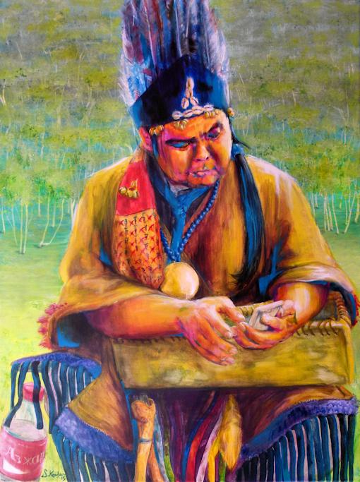 Gemälde von Bayaraa dem Schamanen aus der Mongolei